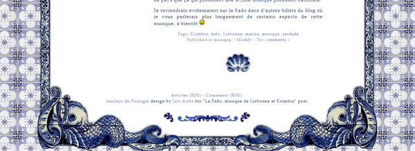 Footer du Template Azulejo de Portugal